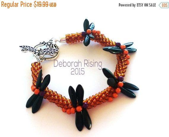 Holiday Sale Halloween Dragonfly Kumihimo Beaded Bracelet