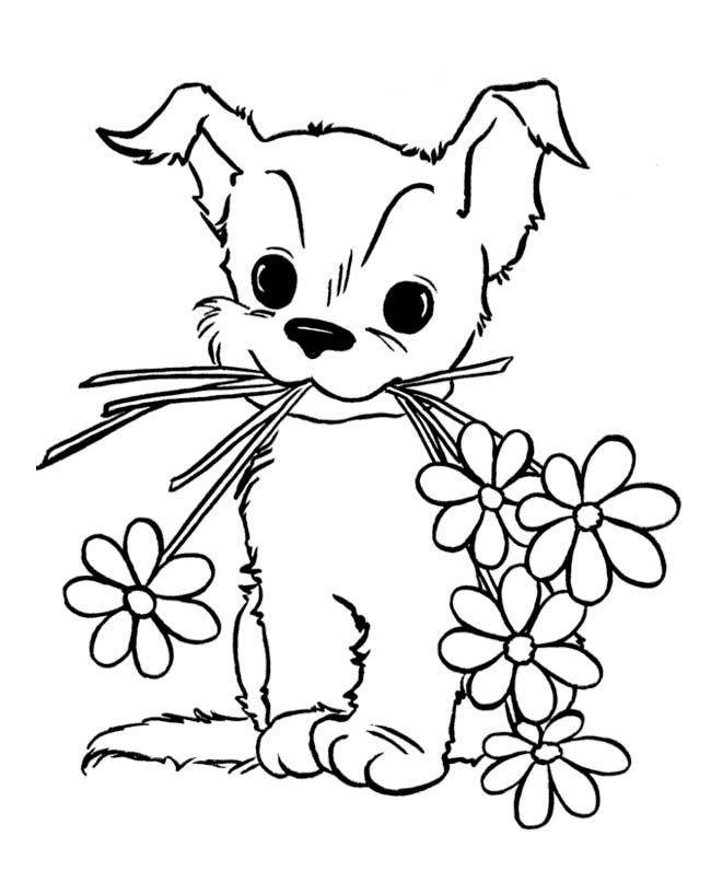 Cute Puppy With Flower Coloring Page For Kids Animal Pages Printables Free