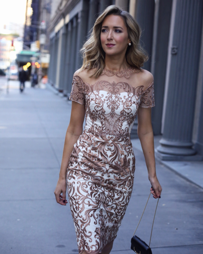 22cf06225 Rose gold cocktail dress. Love the pattern and sleeves!