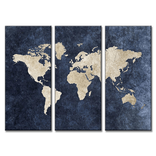 3 Panel Framed Modern Blue World Map Canvas Art Octo Treasure