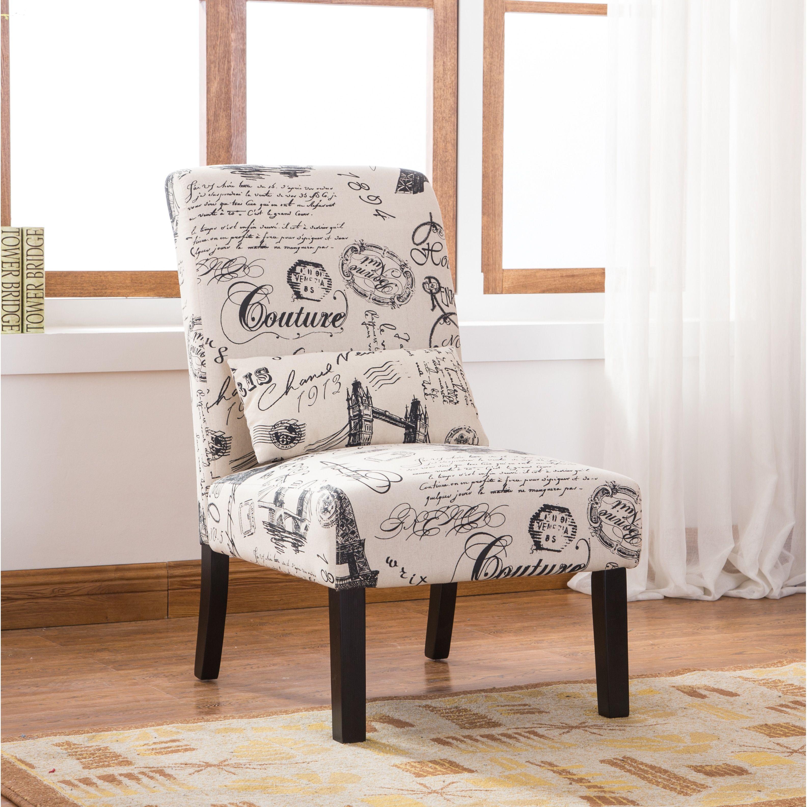 Spiritual Script Accent Chair: Silver Orchid Blythe Script Linen Print Upholstered Accent