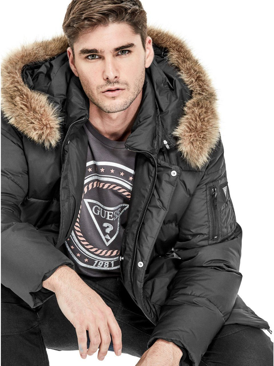Guess Mens Fauxfur Hooded Puffer Jacket Details Can Be Found By Clicking On The Image This Is An Affiliate Link Jacketfo Mens Jackets Jackets Guess Men [ 1280 x 960 Pixel ]