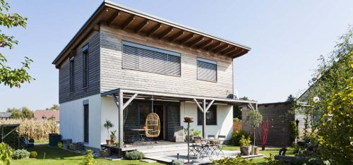 Einfamilienhaus neubau pultdach  Fertighaus mit Pultdach und Holzschalung in Niederösterreich ...