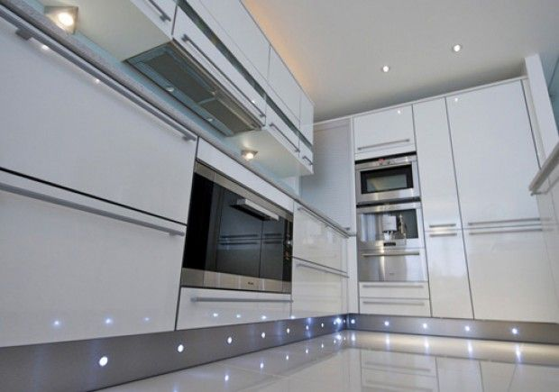 High Gloss White With Stainless Steel Plinth With LED Lights - Kitchen plinth lighting ideas