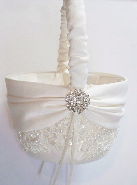 Wedding Flower Girl Basket With Beaded Alencon Lace Ivory Satin Sash Cinched By Crystals