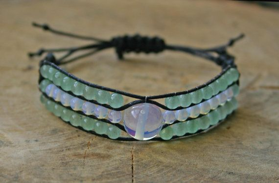 Bracelet Moonstone and Green Aventurine 3 strands by TriouZ, £14.95