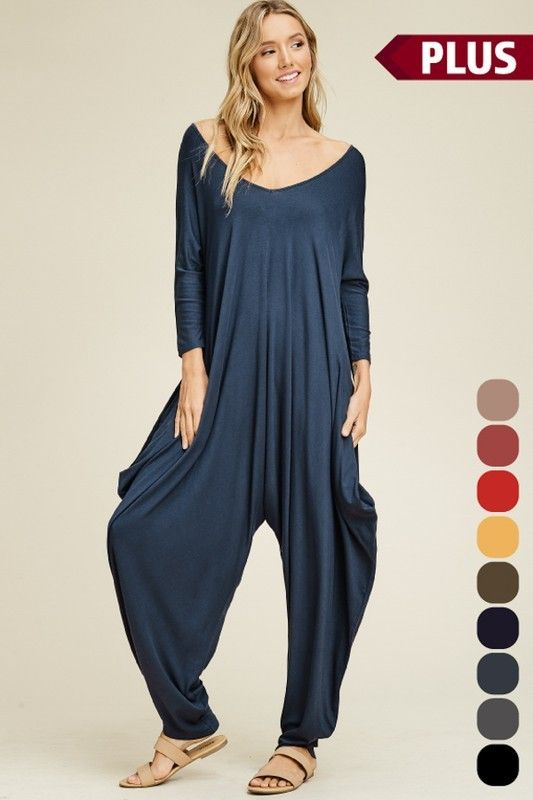 Lounge Harem Pants Jumpsuit with 3/4 Sleeves in Slate ...