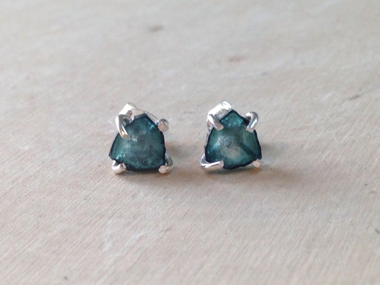 Raw Tourmaline Earrings: Raw Indicolite Tourmaline Earrings, Blue  Tourmaline, Sterling Silver Stud Earrings, Raw Gemstone Earrings, Raw Gem