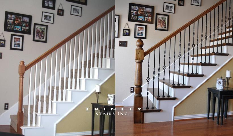 Staircase Redo | Stair Remodeling Before After Gallery Staircase Renovation  Before .