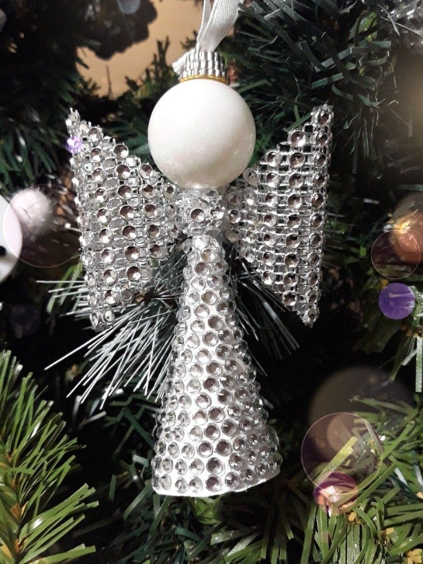 DIY Angel Christmas tree  ornament with crystal ribbon, crystal stickers and small white ball.