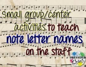 Teacher Tuesday teaching letter names of notes on the staff (part 2) is part of Music lesson plans elementary, Teaching letters, Elementary music education, Elementary music teacher, Elementary music, Elementary music classroom - If you missed last week's Teacher Tuesday post, I talked about my favorite fullclass activities for teaching the letter names of notes on the staff in any clef  You can read that post here  Today, as promised, I'm back to talk about my favorite activities to teach letter names in small groups  I use these activities primarily in centers, where students are rotating through the different activities to practice the letter names  Whenever I introduce a new clef (I push treble clef in 3rd and bass clef in 5th grade), I usually plan one class period of fullclass activities to practice the letter names, and then one class period of centers, where students can get more practice  As with most center activities, the students need to have some grasp of the concept (or have a place to find that correct information) in order to successfully complete the activity independently  1  Music Tutor (iPad) This iPad app comes in a free and paid version  The free version has ads, but the paid version is just $1 99 so it's probably worth the investment  I love this app because you can customize it to treble, bass, or both clefs, you can customize the range of notes it displays you can set it to use ledger line notes or just the line and space notes, and you can choose the amount of time on timer  I like to use the 1 minute timer so that it keeps the fast pace  There are plenty of other great iPad apps, both free and paid, for practicing letter names on the staff this is just one example but I do like this one because it is simple, straightforward, and fastpaced  Here are some other great iPad apps for practicing note names  2  Card Matching Game I print off a picture of each note on the staff (one of each letter name) and one of each of the letters AG, and put them on construction paper (I've done it where all the cards were the same color, or where the notes were on one color and the letters were another two different levels of difficulty depending on what you do)  The rest is just like memory matching except you are matching the note to the correct letter  I like having this center because it is a bit more lowpressure than some of the others  3  Note Spelling Game There are a lot of ways to do this but my favorite method (because it is the most lowmaintenance) is this I have words spelled with note letters (like CABBAGE or FADE) on folded pieces of paper in a cup, and enough dry erase boards and markers for each student  On  go , each student opens the paper they picked from the cup and races to write whatever word they got on the staff  Whenever they finish writing they yell  done  and the other students check their answer  If it's wrong, the game continues  (Other variations could include using tokens or other small manipulatives on a staff or having all the students write the same word  I like dry erase because I don't have to keep up with a bunch of little manipulatives, and I like doing different words for each student because it adds that element of luck and unpredictability that feels more like a game for kids ) 3  Kaboom Sticks This idea has been making its way around Pinterest for a while under a few different names (including Fiddle Sticks and Busted), but whatever you call it, it's definitely a kid favorite! I use this for rhythms as well  I'll let the guy that I took the idea from explain (see video below), but for my version I write the notes on the staff on the sticks and the student has to identify the letter name  4  Swat the Note If you've been paying attention you know that this was on my list for fullclass activities as well  I use it for both  Basically one person says a letter name and the other students race to touch the note on the staff  What's fun about doing it as a small group activity is that I have the students take turns being the judge and caller  They LOVE getting to do that after doing it as a whole class beforehand  I've set it up for small groups by writing on a regular whiteboard or showing a projected image, and having them use fly swatters to swat the note or just hitting it with their hands  Well, there you have it my favorite small group activities for practicing note letter names  I hope you found these ideas helpful!