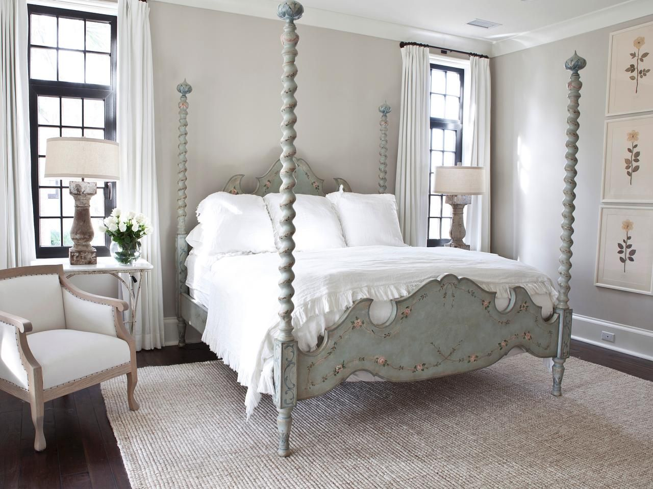 French country bedroom white - Muted Tones And Vintage Furnishings Give This French Country Bedroom A Timeless Look The Dark