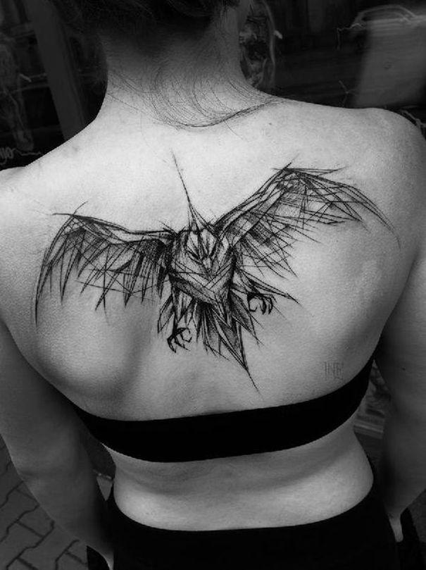 Crazy Raven Tattoo On Back Kruk Szkice Tatuaży Tusz Do