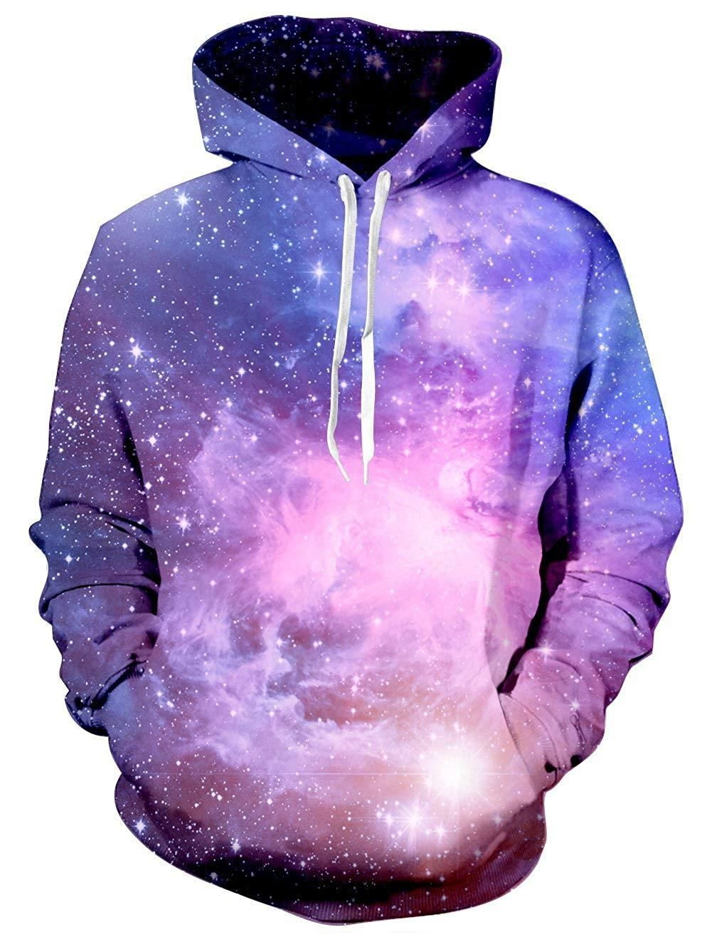 Fashion Hoodies for Men,Unisex Realistic 3D Print Galaxy Pullover Hoodie Funny Pattern Hooded Sweatshirts with Pockets