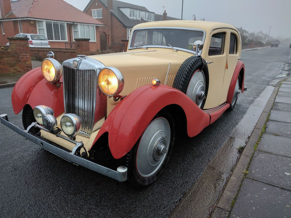 Mg va saloon 1938 cream/red vintage car | Car search, Cars and Engine