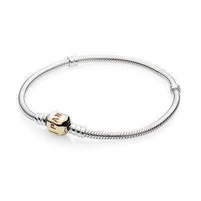 Bracelet, Sterling Silver, 14K Gold Pandora Clasp. This bracelet is dying to be covered in #pandora charms! #myperfectPANDORAsummer @officialpandora