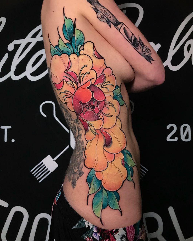 Neo Traditional Peony Tattoo : traditional, peony, tattoo, Traditional, Peony, Tattoo, Flowers,, Tattoo,