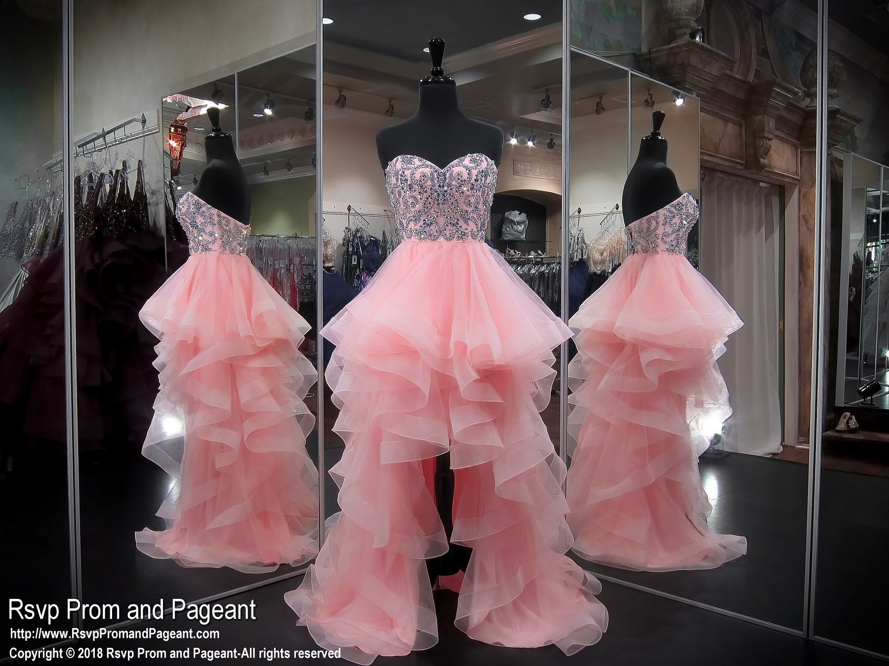 Blush Strapless Sweetheart Beaded Tulle High Low Prom Dress | Prom ...