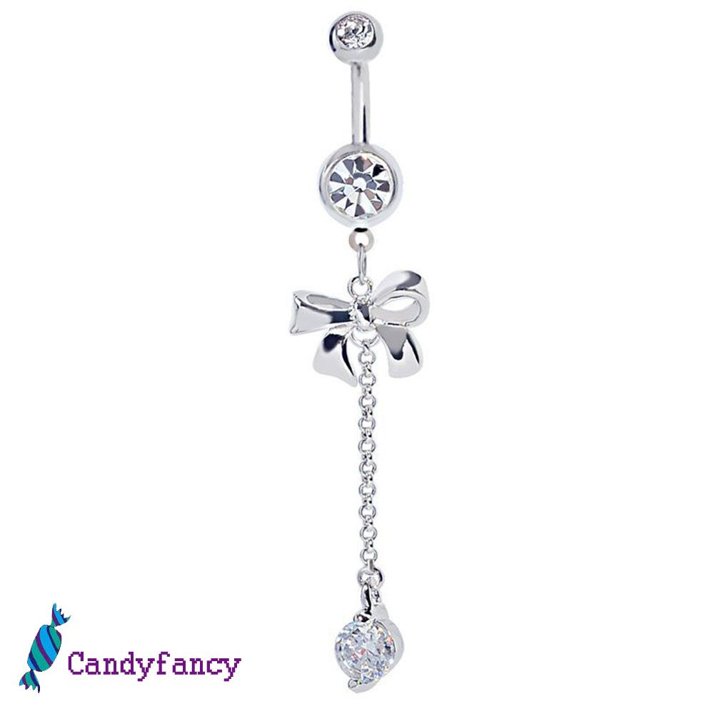 Candyfancy 14G Belly Button Ring Surgical Steel Round Cubic Zirconia Curved Barbell Navel Rings Belly Piercings Jewelry