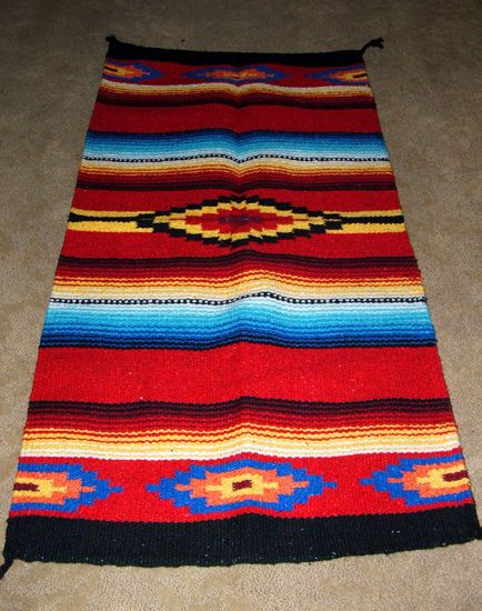 Saltillo Mexican Throw Rug Tapestry Southwestern 20x40 Acrylic Red