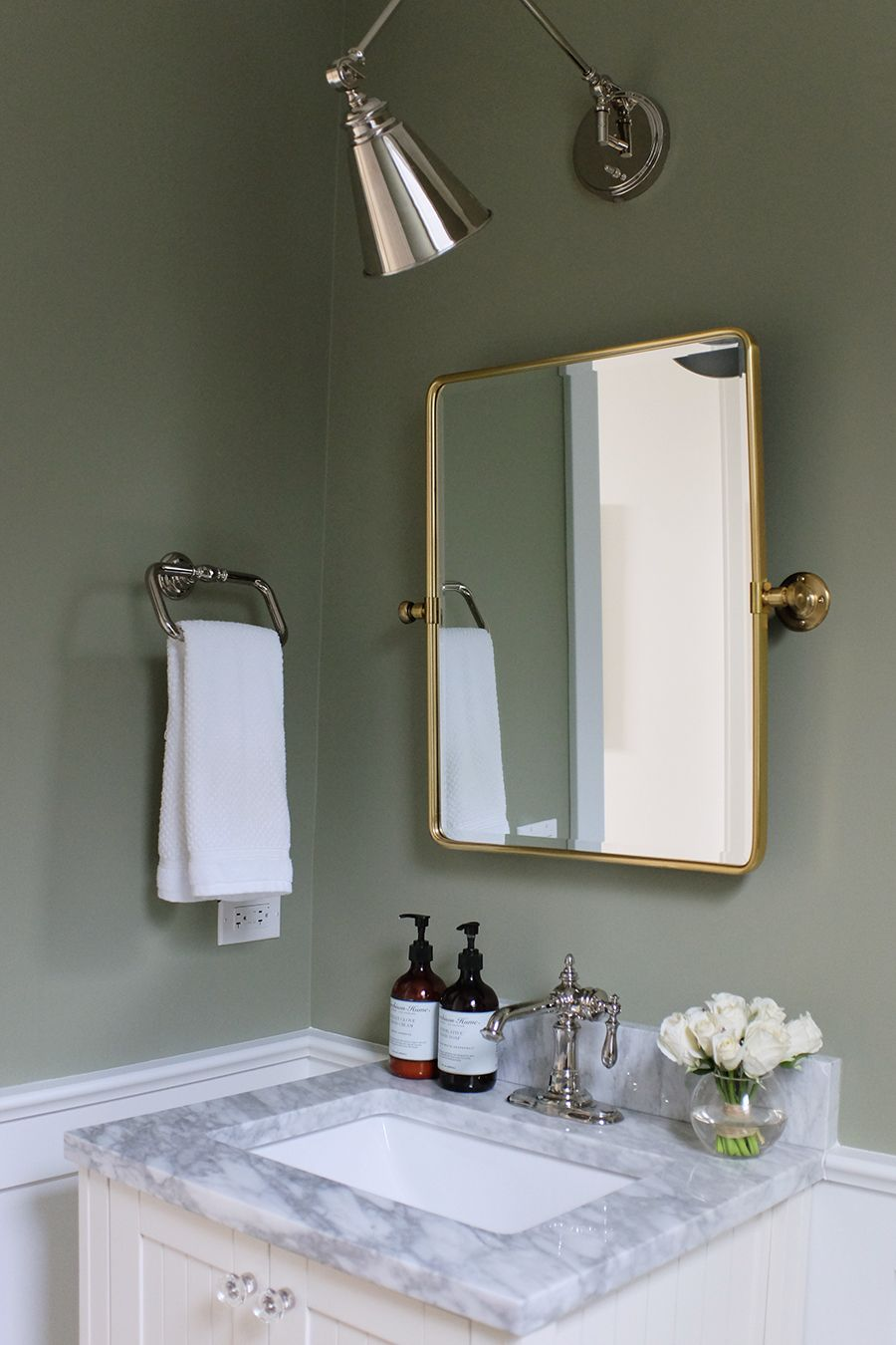 Our Powder Room Painting The Walls Sage Green Sage Green Bedroom Green Bedroom Walls Green Bathroom Paint