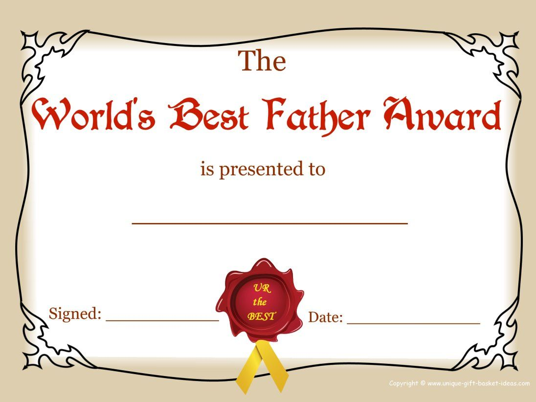 Worlds Greatest Mom And Dad Awards | Free Printable Best Father Award  Free Customizable Printable Certificates Of Achievement