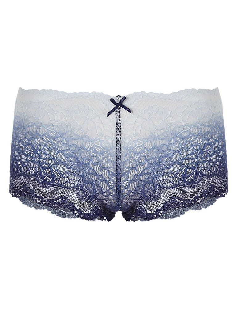 New EX M/&S Collection Overall Bright Blue Lace High Rise Thongs Size 10; 12