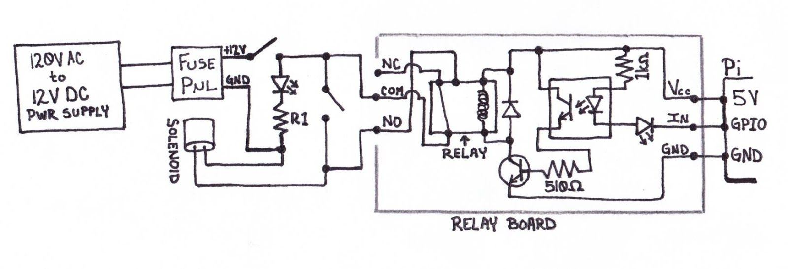circuit diagram for operating a solenoid valve with a raspberry pi to control sprinklers to water the garden raspberry pi solenoid valve sprinklers  [ 1600 x 547 Pixel ]