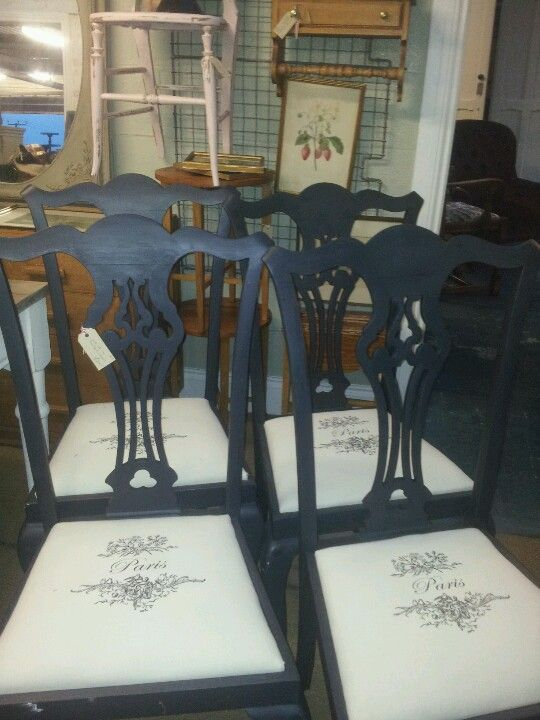 """Annie Sloan Graphite chairs with printed calico """"Paris"""" seats"""