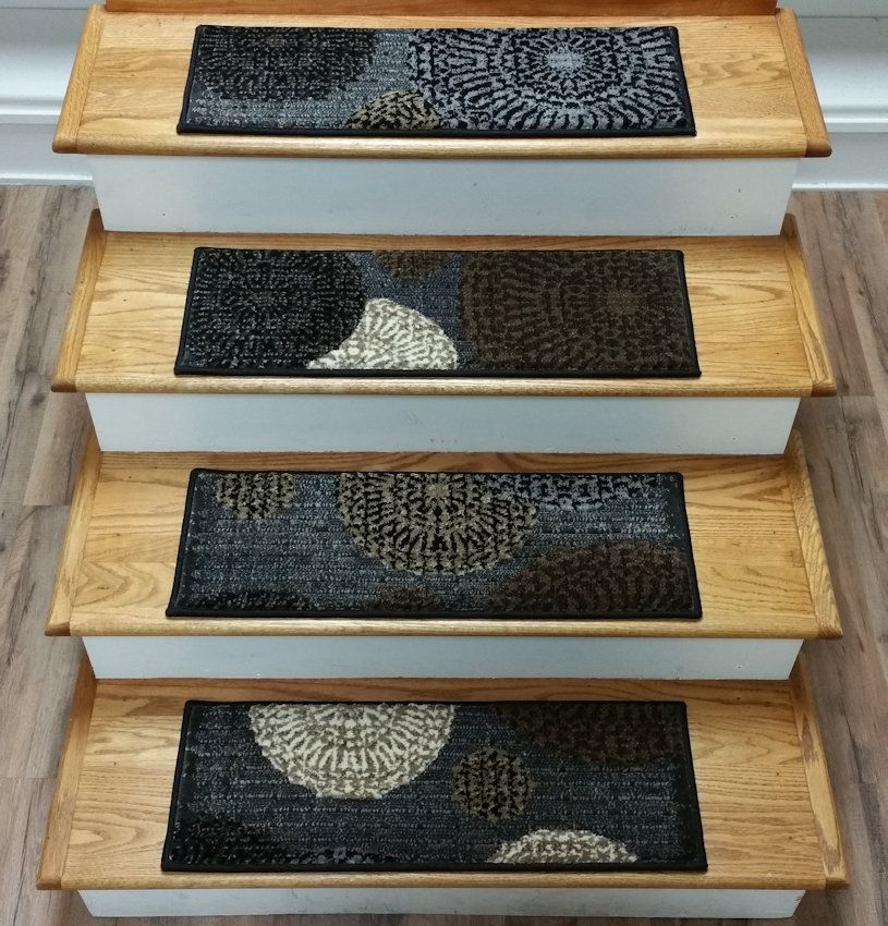 Carpet: Stair Warm Look Stair Design With Mahogany Treads Combine With  Brown Oak Wood Newel