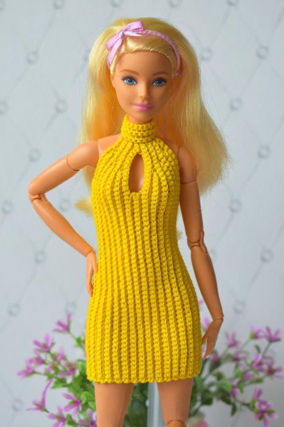 Barbie clothes Dress GalactikaMagicThread: Barbie fashion doll dress crochet #dollcostume
