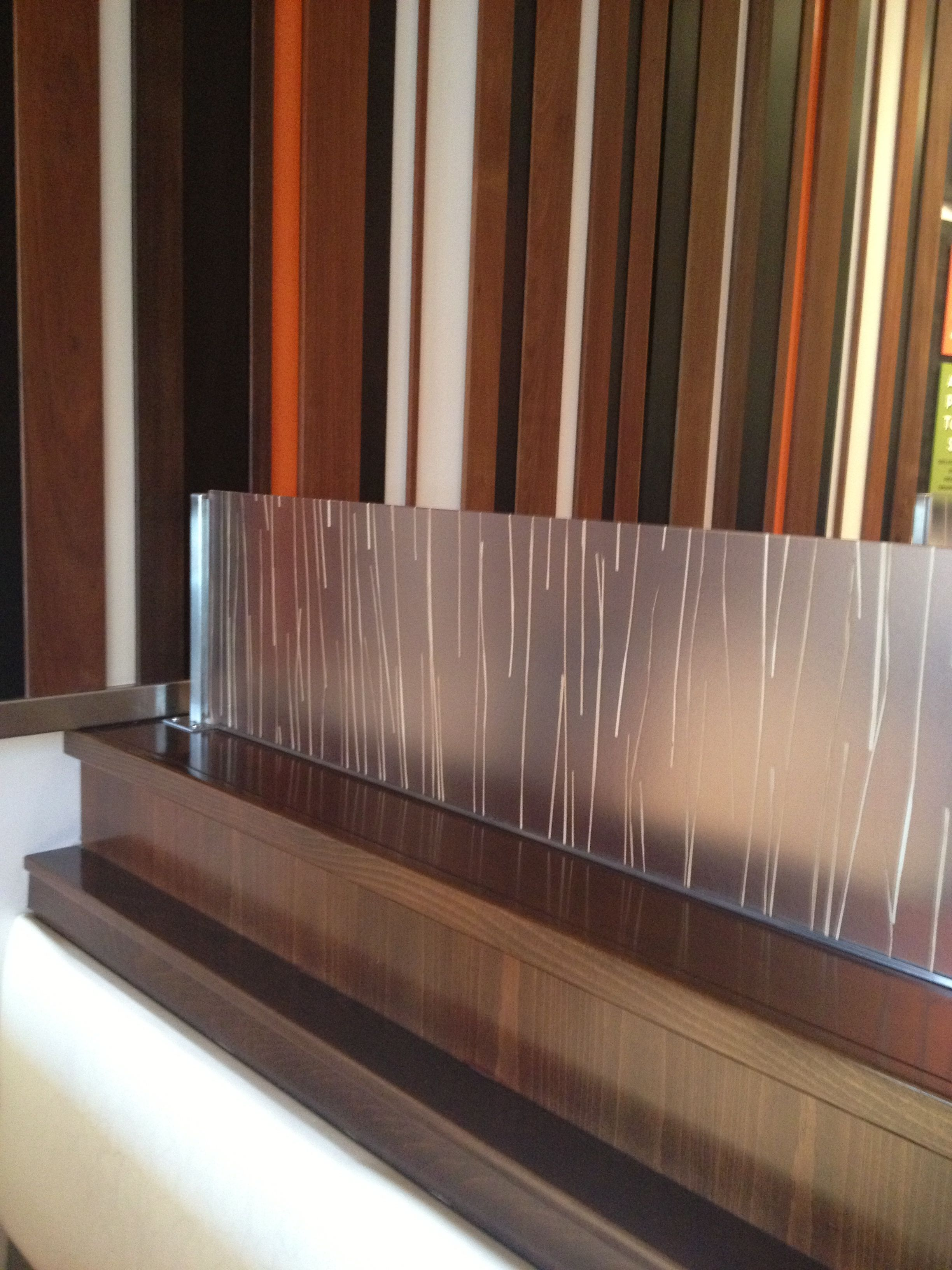 Wall Dividers Partitions : Glass partition on top of pony wall to separate dining