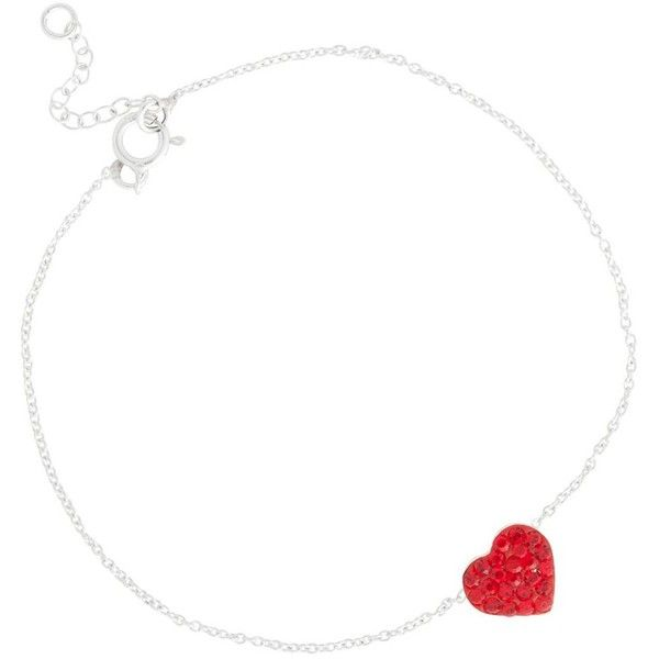 Red Pave Crystal Heart Skinny Sterling Silver Bracelet ($24) ❤ liked on Polyvore