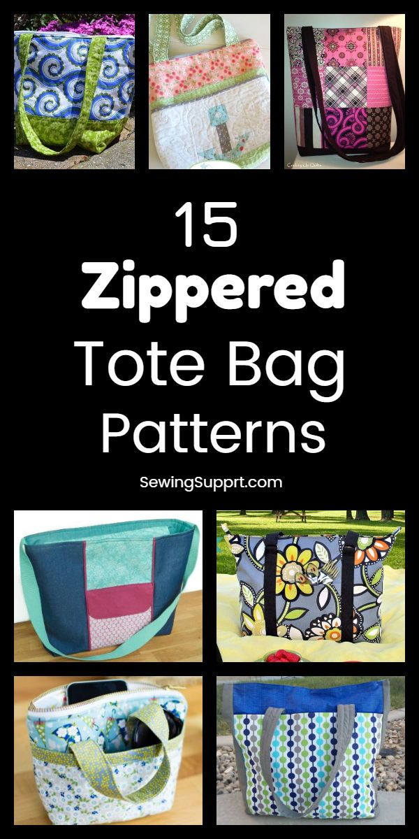 Tote Bag Patterns with Zippered tops. Fifteen free diy tote bag sewing projects & tutorials. Large, small, and sturdy lined styles. Great for kids and school. Great diy gift idea. Instructions for how to make a zippered tote bag. #SewingSupport #ToteBag #Diy #BagPatterns #SewingPatterns SewingProjects #bagpatterns