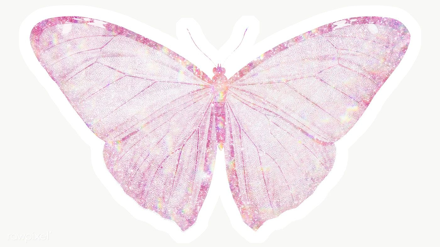 Pink Holographic Butterfly Sticker With A White Border Free Image By Rawpixel Com Adj Butterfly Holographic Free Png