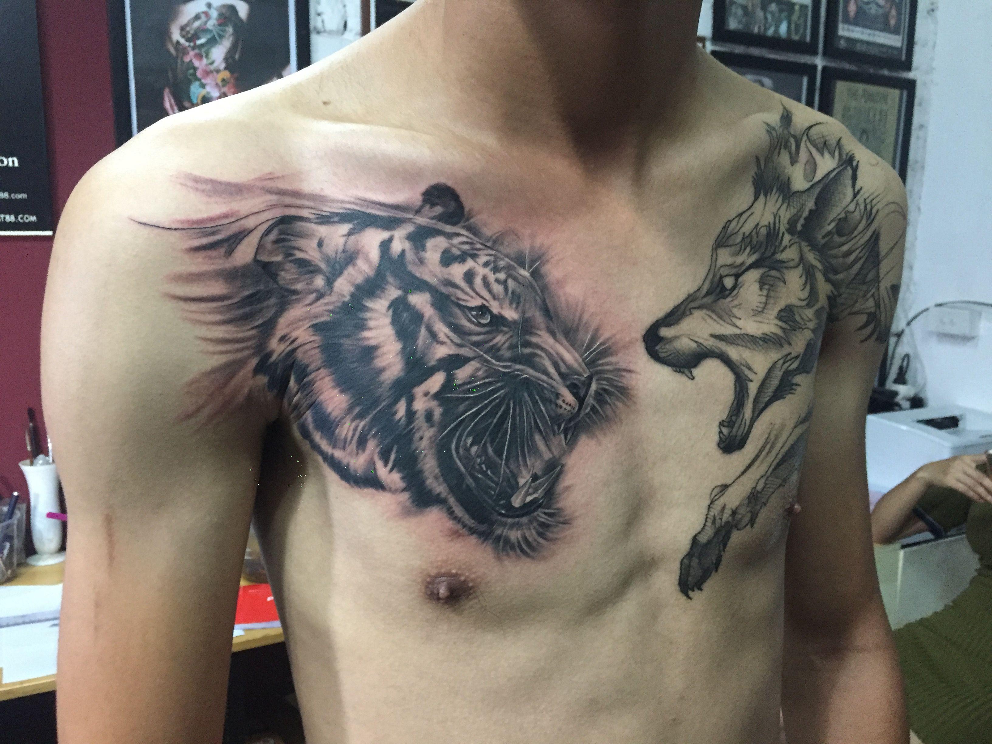 hình xăm hổ hình xăm ngực đẹp xamnghethuat88 com orion tattoo tattoo