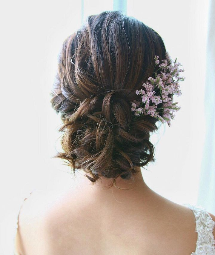 Beautiful Low Updo Bridal Hairstyle For Romantic Brides Wedding Hair Down Long Hair Updo Medium Length Hair Styles