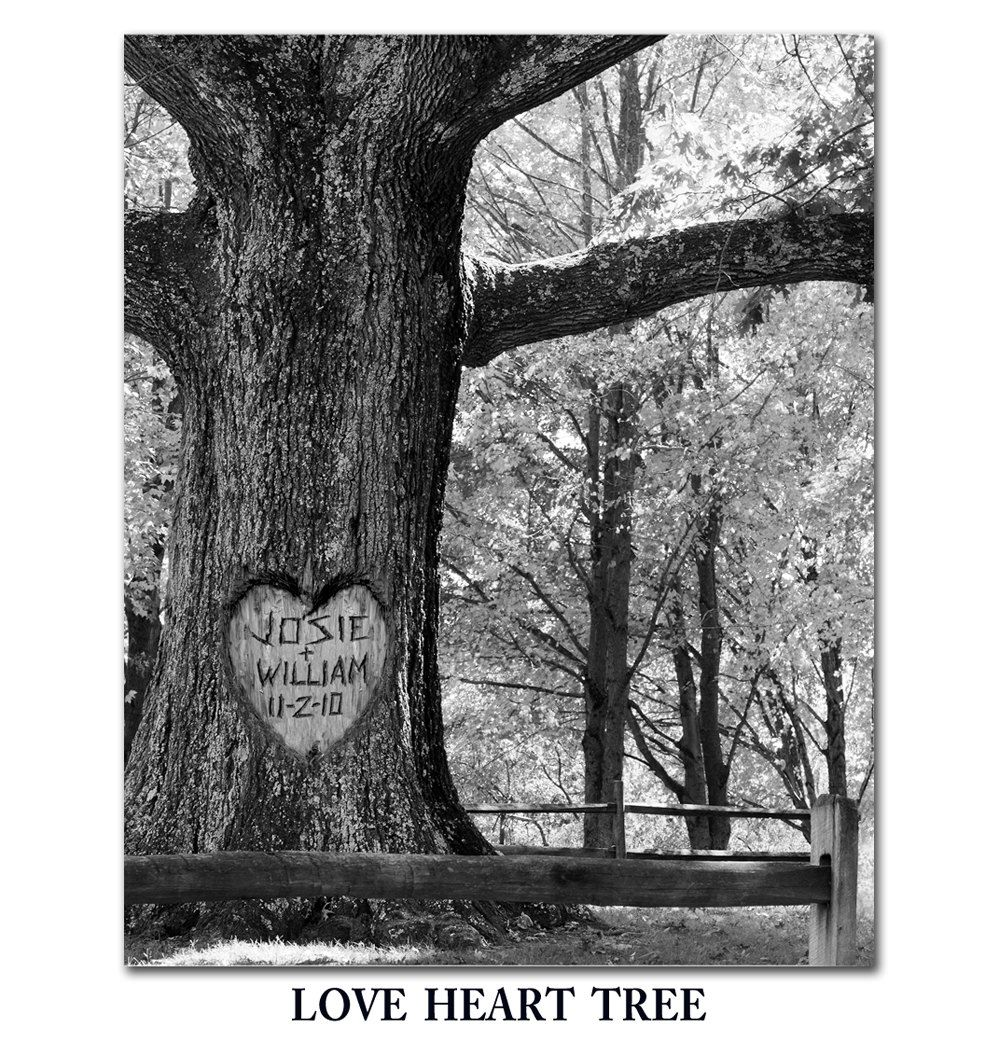 Love heart tree photo personalized with your name carved