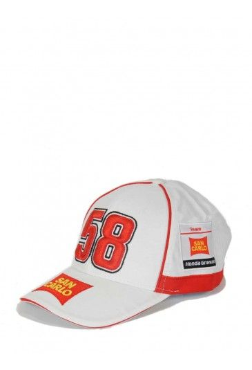 Marco Simoncelli sponsor cap. White baseball cap with red finishing on the sides and under the visor. The Marco race number 58 is embroidered on the front in a 3D version. The San Carlo sponsor logo is featured on the visor and on both sides. The Supersic logo is featured on the back. // Cappellino Marco Simoncelli #sic58 #supersic