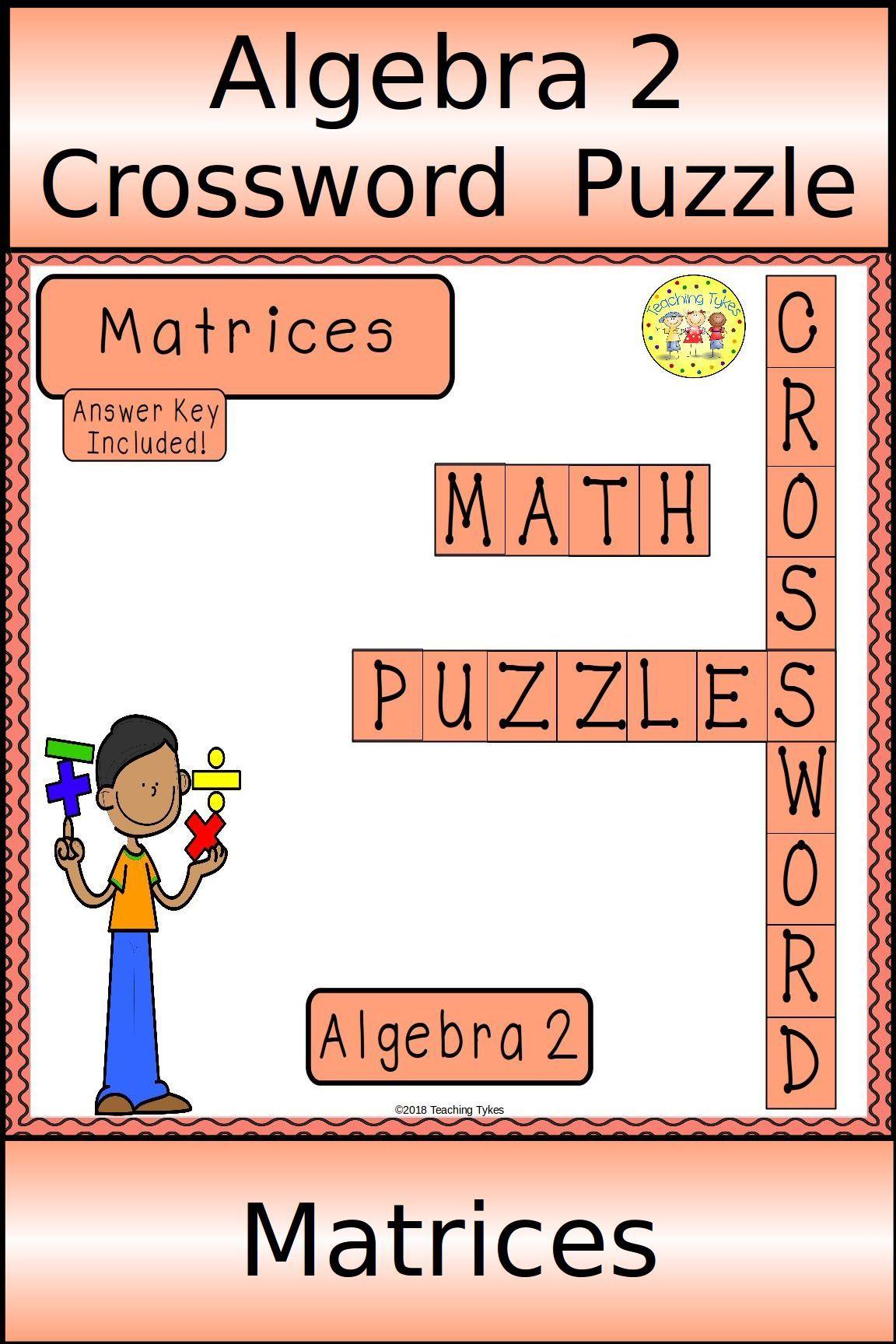 Algebra 2 Matrices Crossword Puzzle Vocabulary Activities Mathematics Worksheets Radical Equations