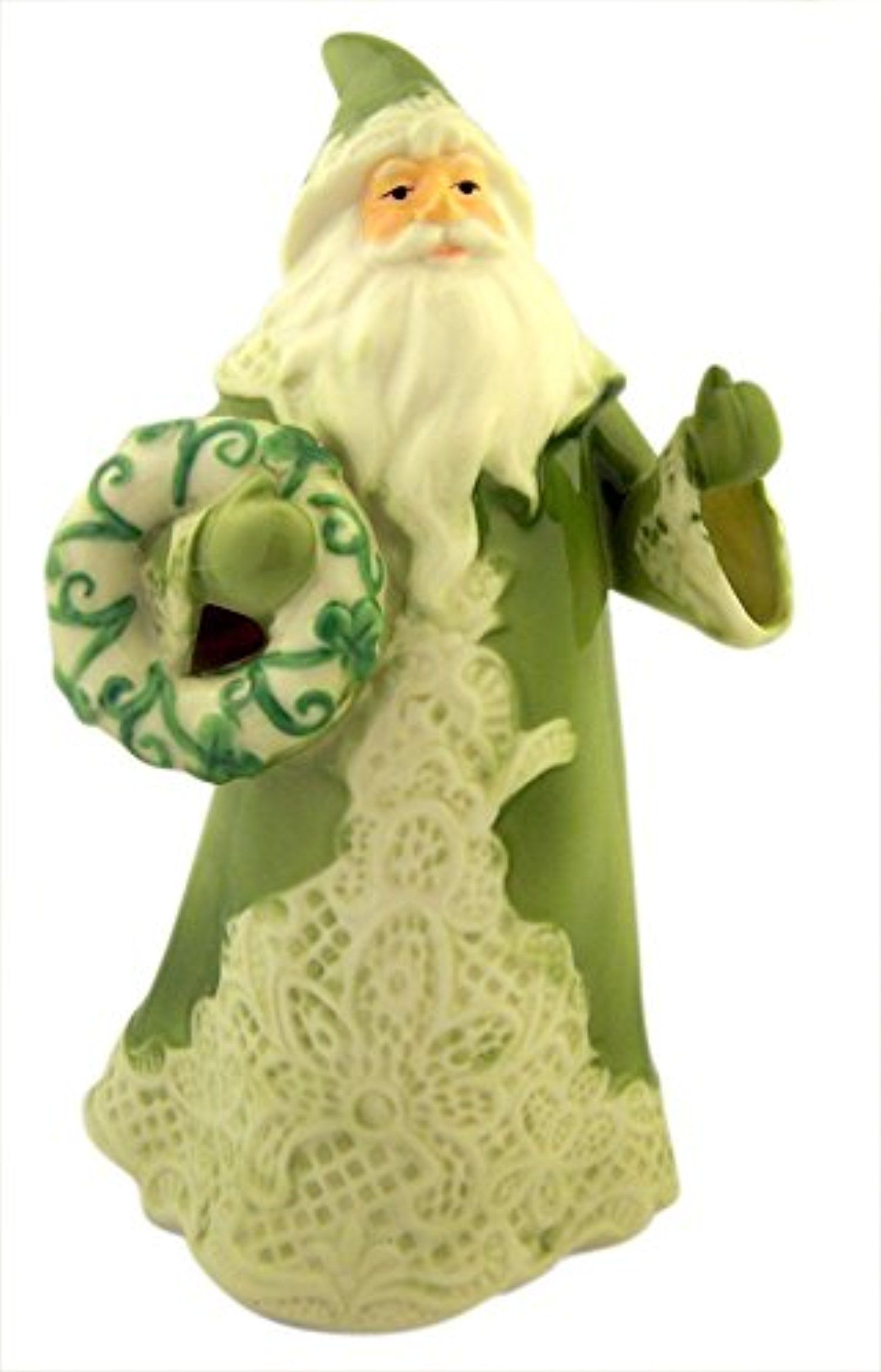 Porcelain Green Irish Lace Santa Claus Christmas Figurine, 7 Inch -- Awesome products selected by Anna Churchill