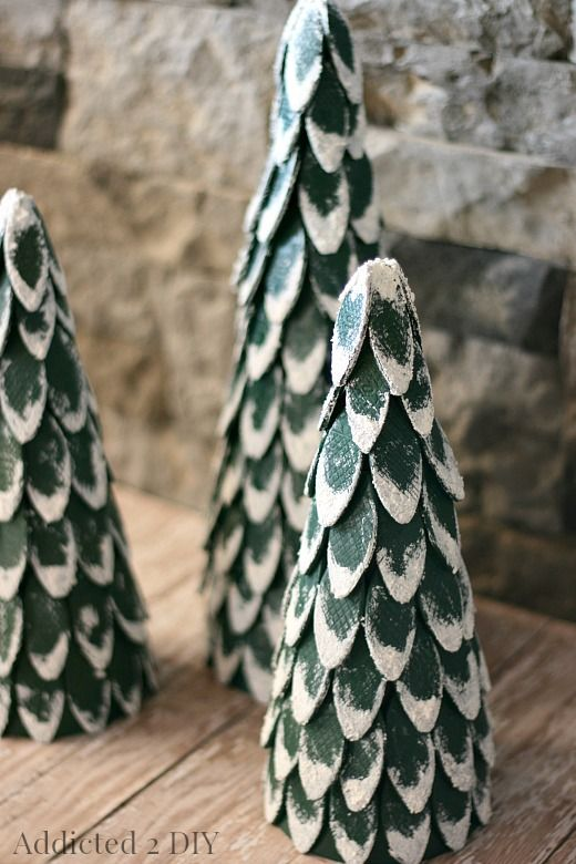 Snow-Capped Wood Biscuit Christmas Trees | Christmas tree ...