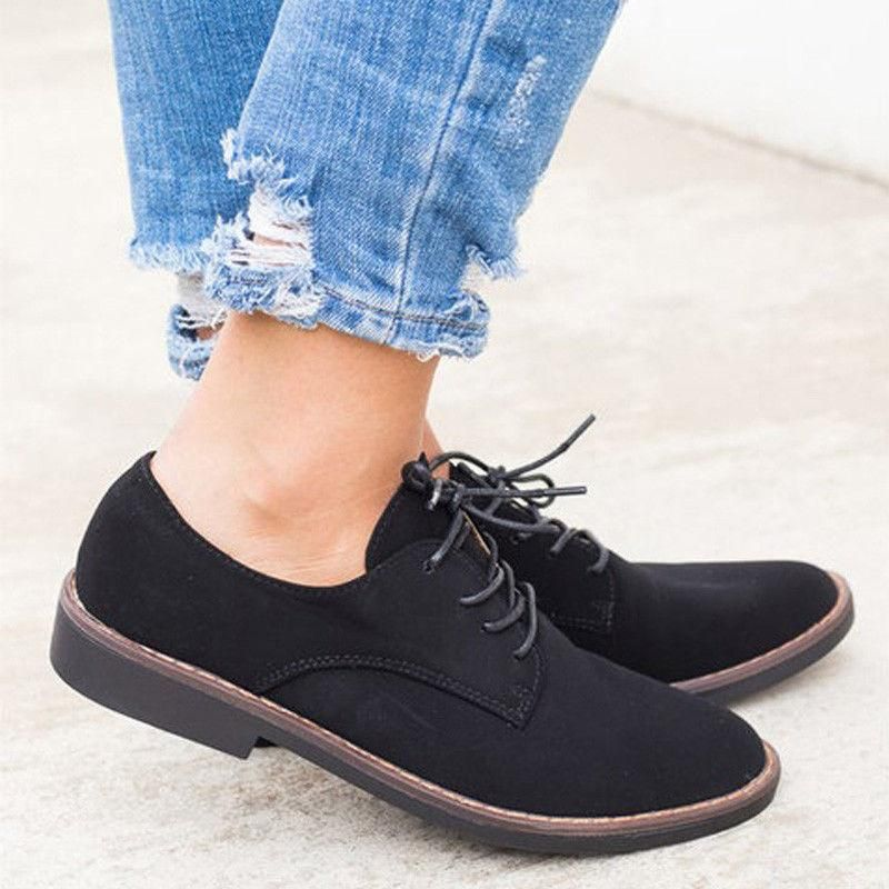 4de95b7f92 Women's Casual Lace Up Oxfords Shoes Flats British Style Autumn Winter  Loafers