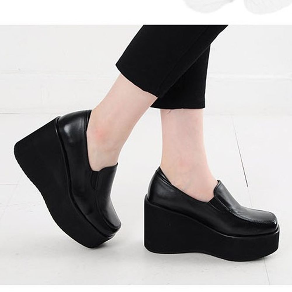 Loafers Womens Faux Leather Croc Texture Wedge Heel Ladies Slip On Shoes