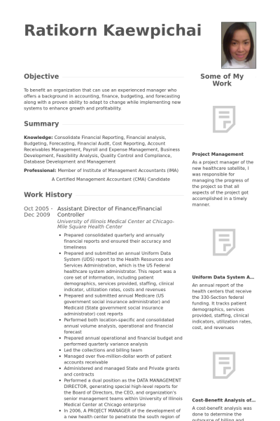 Assistant Director Of Finance/financial Controller Resume Example