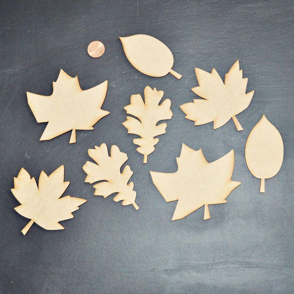 Diy Wooden Leaf Cutouts Set Of 8 Wood Projects Leaf Cutout