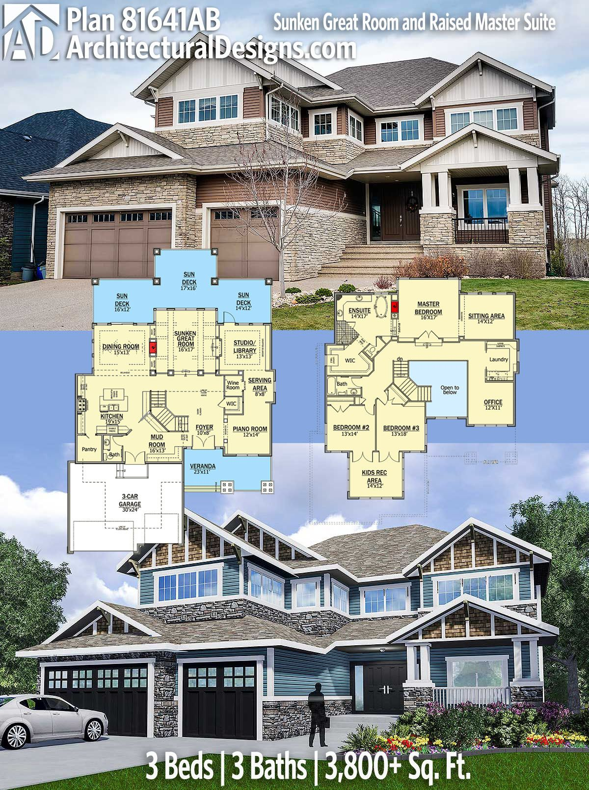 Cool Sunken Living Room Ideas For Your Dreamed House: Plan 81641AB: Sunken Great Room And Raised Master Suite In 2020