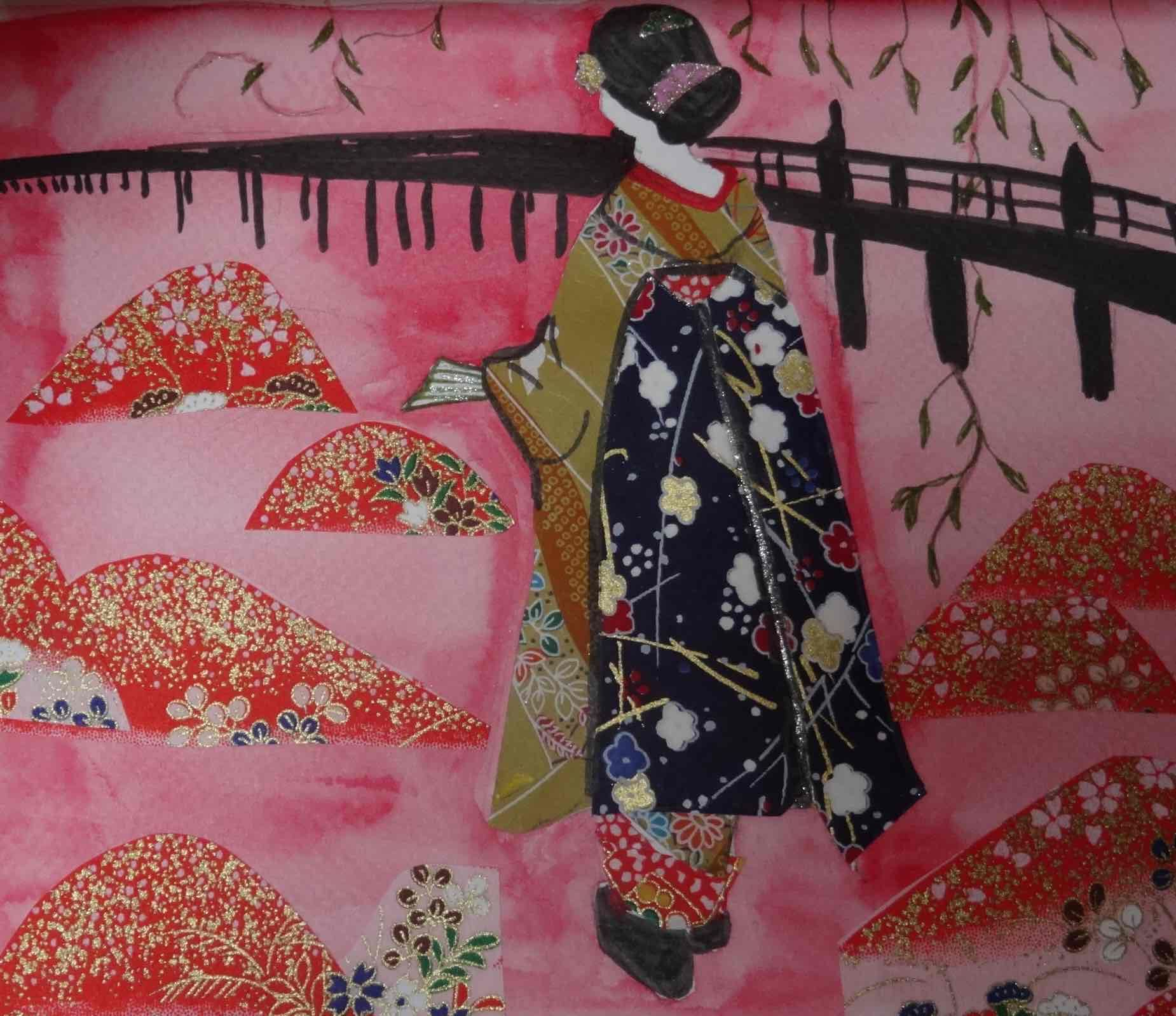 japonaises collages et aquarelle