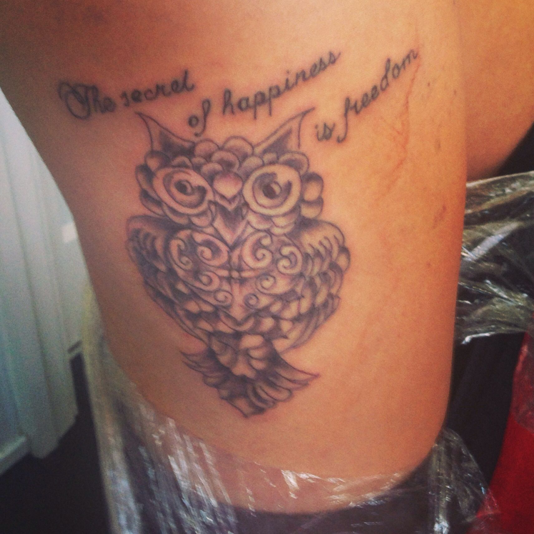 Quote Tattoos Thigh: My New Thigh Owl Quote Tattoo