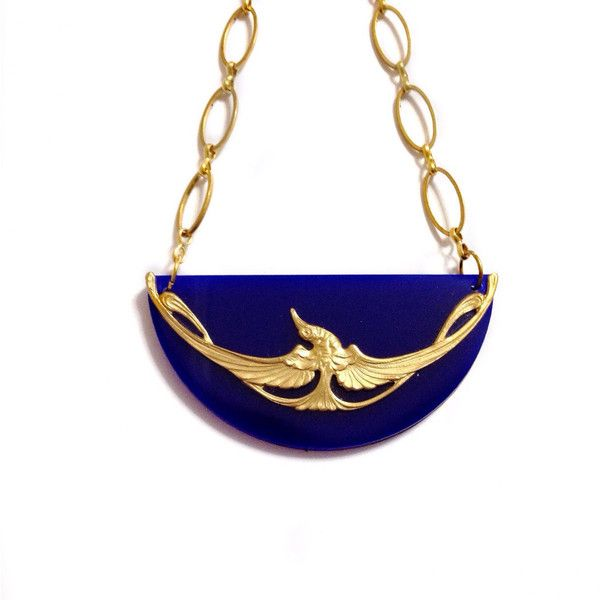 Thunderbird Art Nouveau Flying Bird Mixed Media Gold Brass on